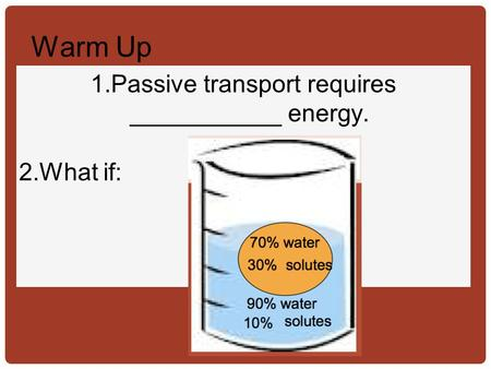 Passive transport requires ___________ energy. What if:
