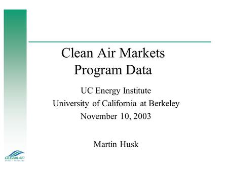 Clean Air Markets Program Data