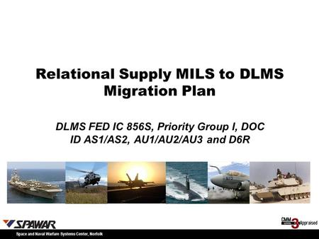 Relational Supply MILS to DLMS Migration Plan DLMS FED IC 856S, Priority Group I, DOC ID AS1/AS2, AU1/AU2/AU3 and D6R Space and Naval Warfare Systems Center,