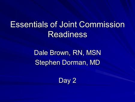 Essentials of Joint Commission Readiness