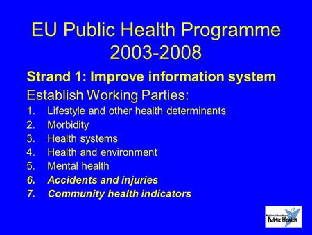 EU Public Health Programme 2003-2008 Strand 1: Improve information system Establish Working Parties: 1.Lifestyle and other health determinants 2.Morbidity.