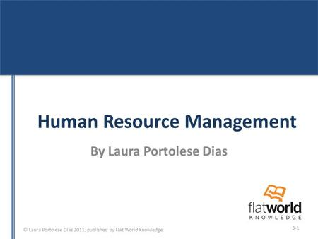 © Laura Portolese Dias 2011, published by Flat World Knowledge Human Resource Management By Laura Portolese Dias 3-1.