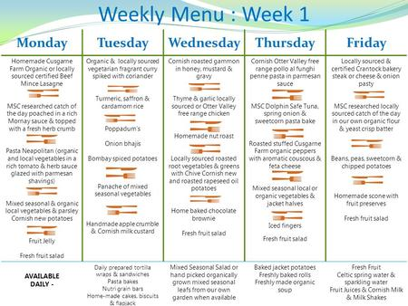 Weekly Menu : Week 1 MondayTuesdayWednesdayThursdayFriday Homemade Cusgarne Farm Organic or locally sourced certified Beef Mince Lasagne MSC researched.