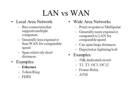 LAN vs WAN Local Area Network Examples: Wide Area Networks Examples: