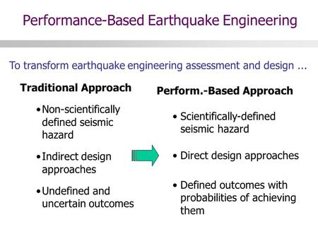 To transform earthquake engineering assessment and design... Perform.-Based Approach Scientifically-defined seismic hazard Direct design approaches Defined.