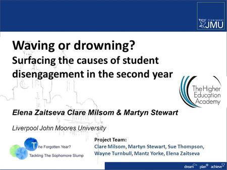 Waving or drowning? Surfacing the causes of student disengagement in the second year Elena Zaitseva Clare Milsom & Martyn Stewart Liverpool John Moores.