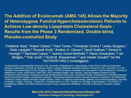 March 29, 2014, Featured Clinical Research Session 400