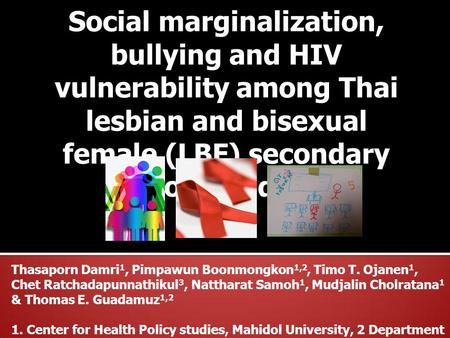 Social marginalization, bullying and HIV vulnerability among Thai lesbian and bisexual female (LBF) secondary school students Thasaporn Damri 1, Pimpawun.
