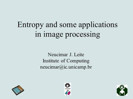 Entropy and some applications in image processing Neucimar J. Leite Institute of Computing