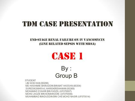CASE 1 TDM Case Presentation By : Group B