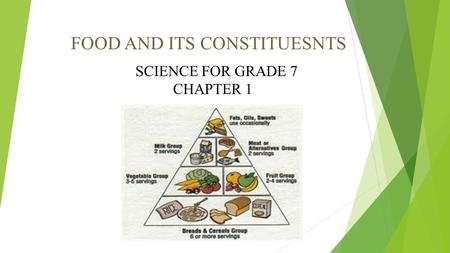FOOD AND ITS CONSTITUESNTS SCIENCE FOR GRADE 7 CHAPTER 1.