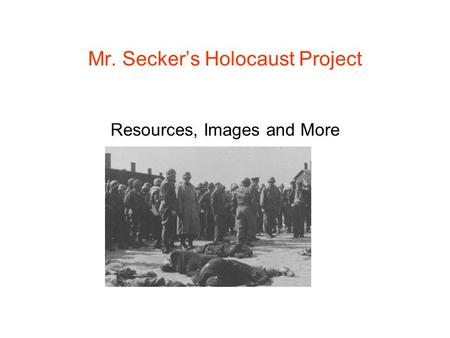 Mr. Secker's Holocaust Project Resources, Images and More.