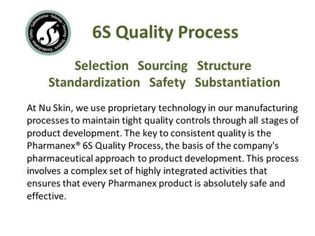Selection Sourcing Structure Standardization Safety Substantiation