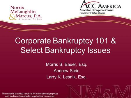 Corporate Bankruptcy 101 & Select Bankruptcy Issues Morris S. Bauer, Esq. Andrew Stein Larry K. Lesnik, Esq. The material provided herein is for informational.