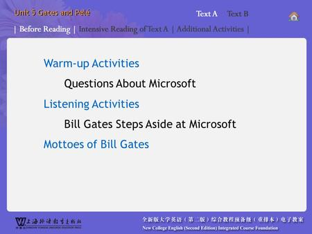 Unit 5 Gates and Pelé Warm-up <strong>Activities</strong> Questions About Microsoft Listening <strong>Activities</strong> Bill Gates Steps Aside at Microsoft Mottoes of Bill Gates *BR_.