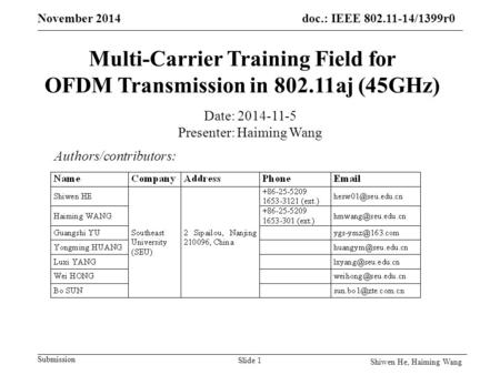 Doc.: IEEE 802.11-14/1399r0 Submission November 2014 Multi-Carrier Training Field for OFDM Transmission in 802.11aj (45GHz) Authors/contributors: Date: