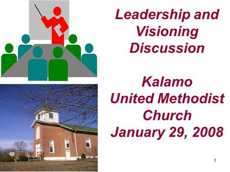 1 Leadership and Visioning Discussion Kalamo United Methodist Church January 29, 2008.