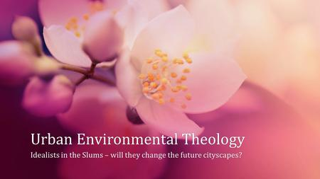 Urban Environmental TheologyUrban Environmental Theology Idealists in the Slums – will they change the future cityscapes?Idealists in the Slums – will.