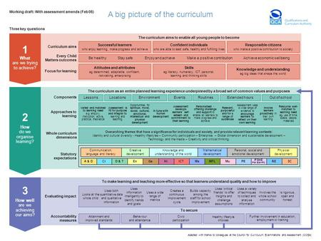 A big picture of the curriculum Adapted with thanks to colleagues at the Council for Curriculum, Examinations and Assessment (CCEA) Working draft: With.