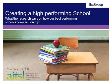 Creating a high performing School What the research says on how our best performing schools come out on top Courtesy of AITSL.