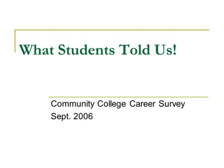 What Students Told Us! Community College Career Survey Sept. 2006.
