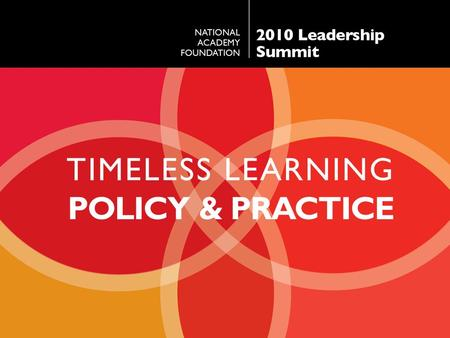 TIMELESS LEARNING POLICY & PRACTICE. JD HOYE President National Academy Foundation.