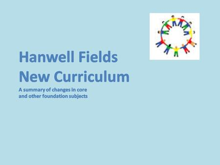 An Overview The new National Curriculum came into effect from September 1st There are changes for all subjects but these are particularly significant.