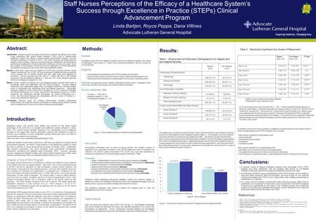 Abstract: Staff Nurses Perceptions of the Efficacy of a Healthcare System's Success through Excellence in Practice (STEPs) Clinical Advancement Program.