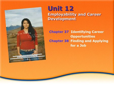 Unit 12 Employability and Career Development Chapter 37 Identifying Career Opportunities Chapter 38Finding and Applying for a Job.