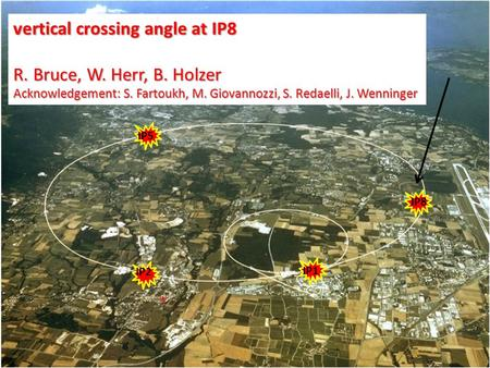 * IP5 IP1 IP2 IP8 vertical crossing angle at IP8 R. Bruce, W. Herr, B. Holzer Acknowledgement: S. Fartoukh, M. Giovannozzi, S. Redaelli, J. Wenninger.