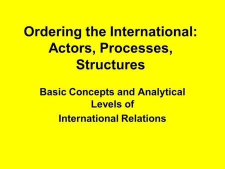 the international system and the main actors in international relations International relations theory and security states, as the main actors in international relations international system.