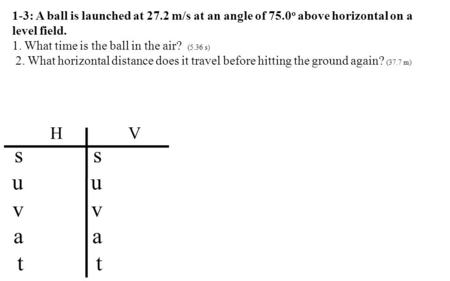 1-3: A ball is launched at 27.2 m/s at an angle of 75.0 o above horizontal on a level field. 1. What time is the ball in the air? (5.36 s) 2. What horizontal.