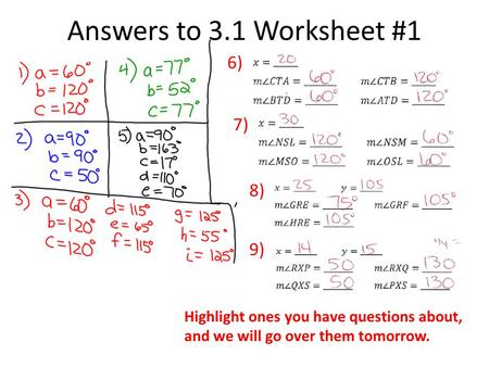 Answers to 3.1 Worksheet #1 6) 7) 8) 9)