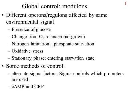 Global control: modulons Different operons/regulons affected by same environmental signal –Presence of glucose –Change from O 2 to anaerobic growth –Nitrogen.