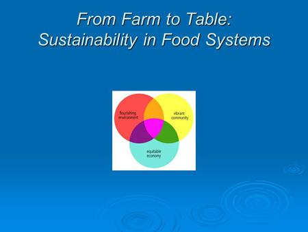 From <strong>Farm</strong> to Table: Sustainability in Food Systems.