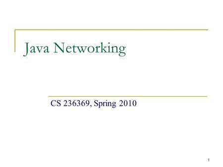 1 Java Networking CS 236369, Spring 2010. 2 Today's Menu Networking Basics  TCP, UDP, Ports, DNS, Client-Server Model TCP/IP in Java Sockets URL  The.