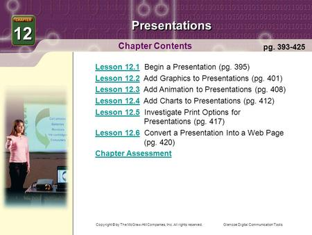 Glencoe Digital Communication Tools Presentations Chapter Contents 12 pg. 393-425 Lesson 12.1Lesson 12.1 Begin a Presentation (pg. 395) Lesson 12.2Lesson.