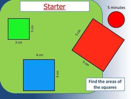 Starter 3 cm 4 cm 5 cm Find the areas of the squares 5 minutes.