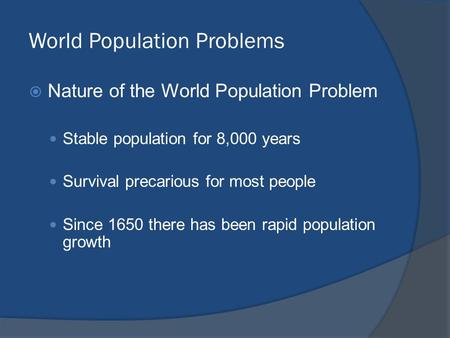 World Population Problems