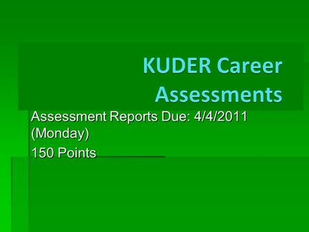 Assessment Reports Due: 4/4/2011 (Monday) 150 Points.