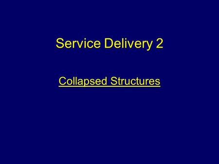 Service Delivery 2 Collapsed Structures. Aim To provide information that will assist students to deal with incidents involving collapsed structures safely.