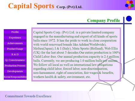 Company Profile Capital Sports Corp. (Pvt) Ltd. Commitment Towards Excellence Experience Achievements Product Range R & D Q. Consciousness Production.