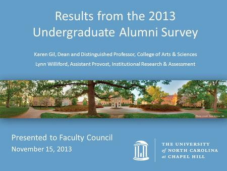 Results from the 2013 Undergraduate Alumni Survey Karen Gil, Dean and Distinguished Professor, College of Arts & Sciences Lynn Williford, Assistant Provost,