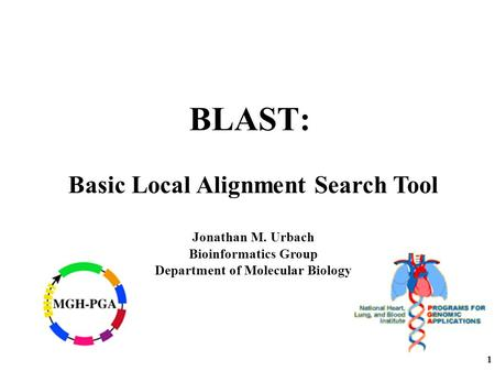 1 BLAST: Basic Local Alignment Search Tool Jonathan M. Urbach Bioinformatics Group Department of Molecular Biology.