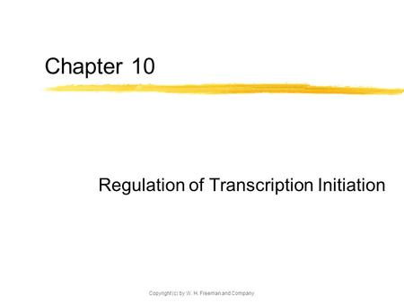 Copyright (c) by W. H. Freeman and Company Chapter 10 Regulation of Transcription Initiation.