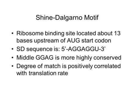 Shine-Dalgarno Motif Ribosome binding site located about 13 bases upstream of AUG start codon SD sequence is: 5'-AGGAGGU-3' Middle GGAG is more highly.
