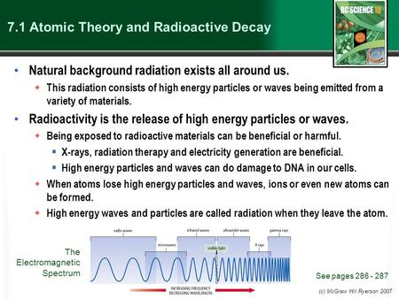 (c) McGraw Hill Ryerson 2007 7.1 Atomic Theory and Radioactive Decay Natural background radiation exists all around us.  This radiation consists of high.