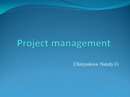 Chistyakova Nataly O.. Project Environment Project environment consists of:  The project external environment  The project internal environment.
