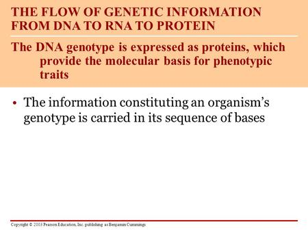 Copyright © 2003 Pearson Education, Inc. publishing as Benjamin Cummings The information constituting an organism's genotype is carried in its sequence.