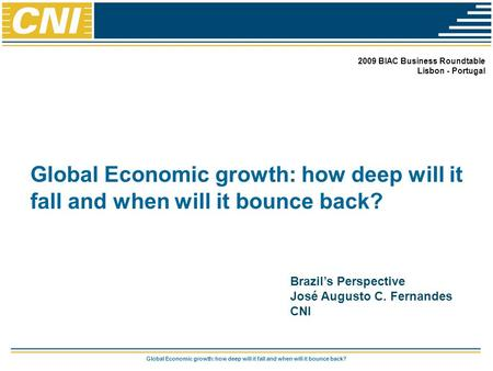 Global Economic growth: how deep will it fall and when will it bounce back? 2009 BIAC Business Roundtable Lisbon - Portugal Brazil's Perspective José Augusto.